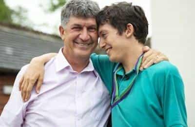 Student hugs Dad