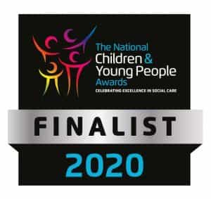 Finalist badge for the national children and young people awards 2020